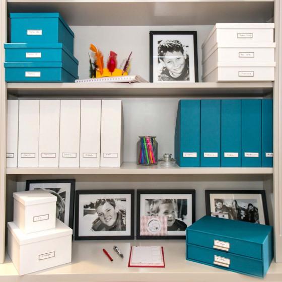 Boîte à 2 tiroirs en carton bleu turquoise