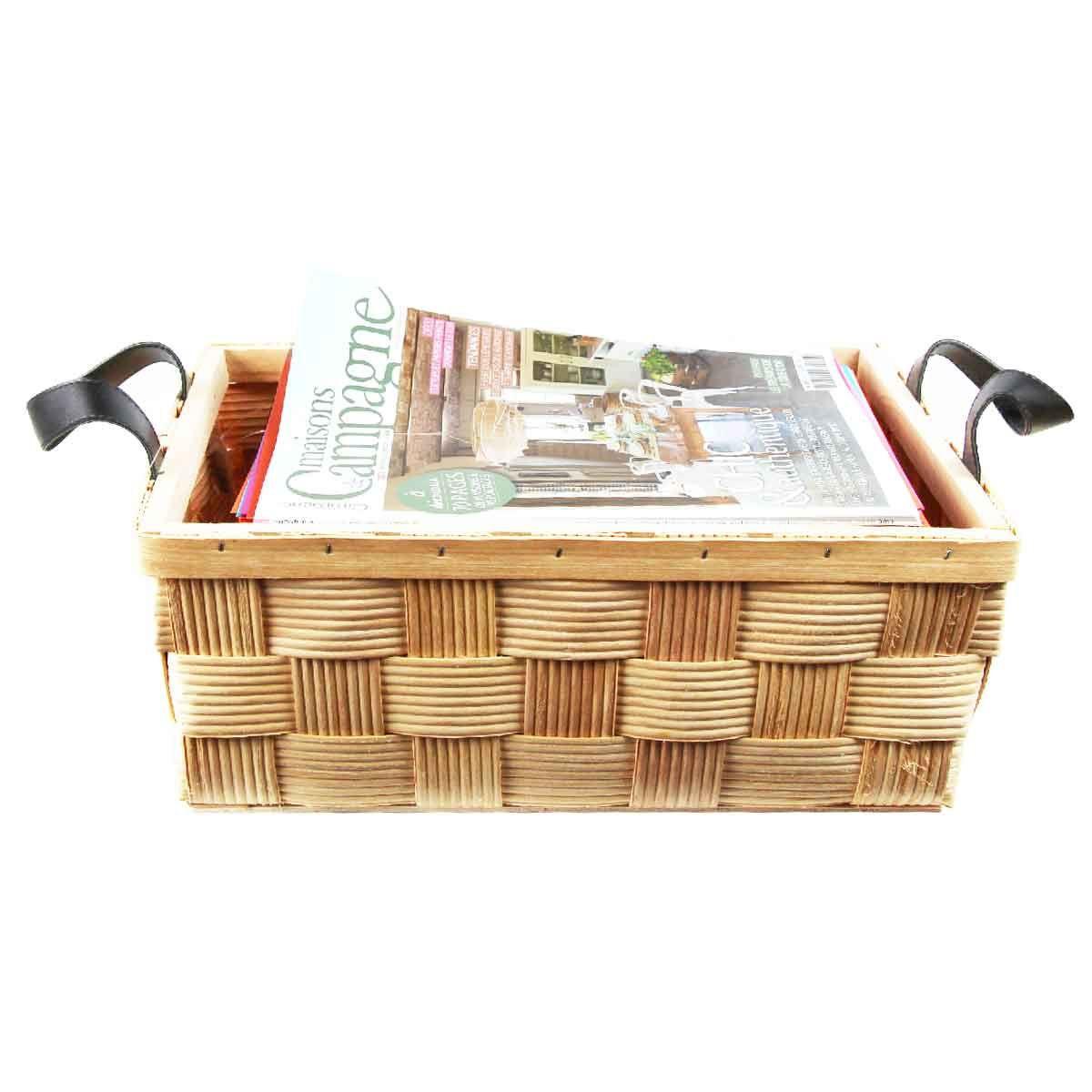 panier de rangement en lattes de bois. Black Bedroom Furniture Sets. Home Design Ideas