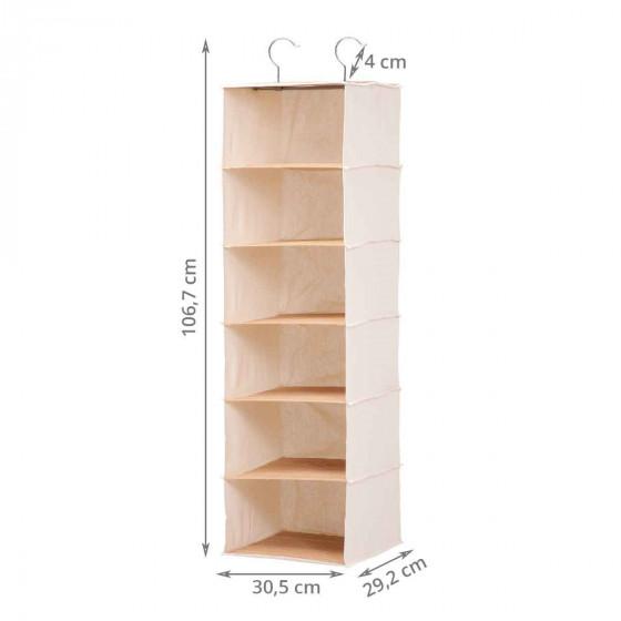Etagère suspendue pour pulls en tissu et bambou