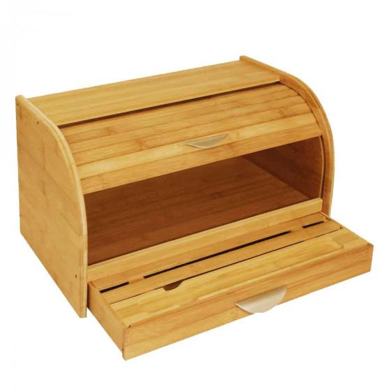 Boîte à pain en bois avec planche