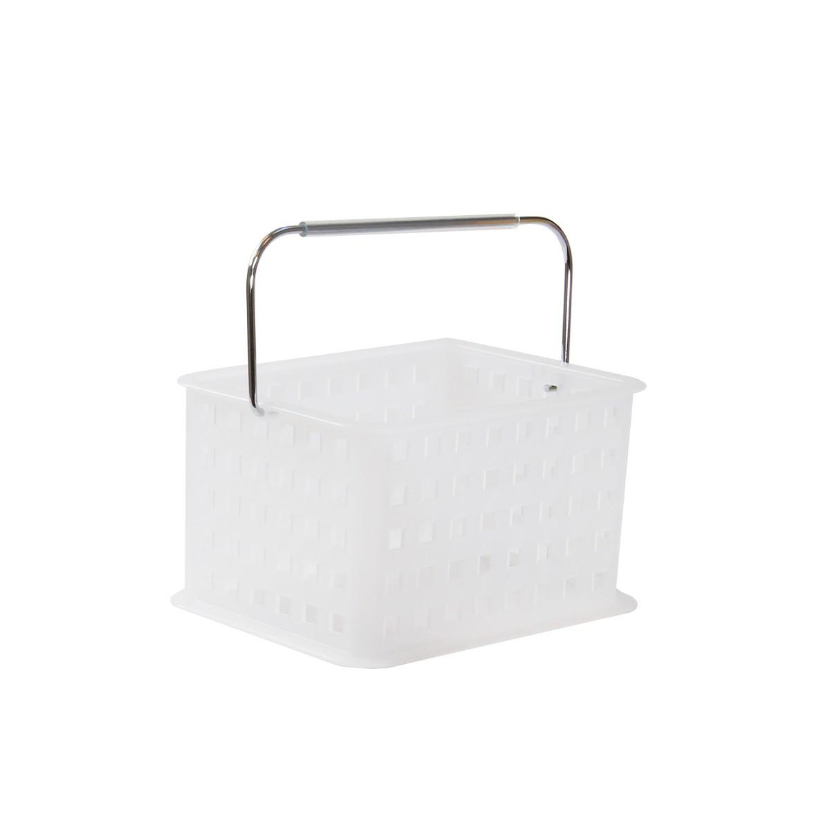 Panier plastique blanc avec anse rangement salle de bain for Rangement salle de bain plastique