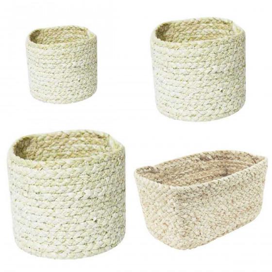 Panier rond en fibres de maïs M