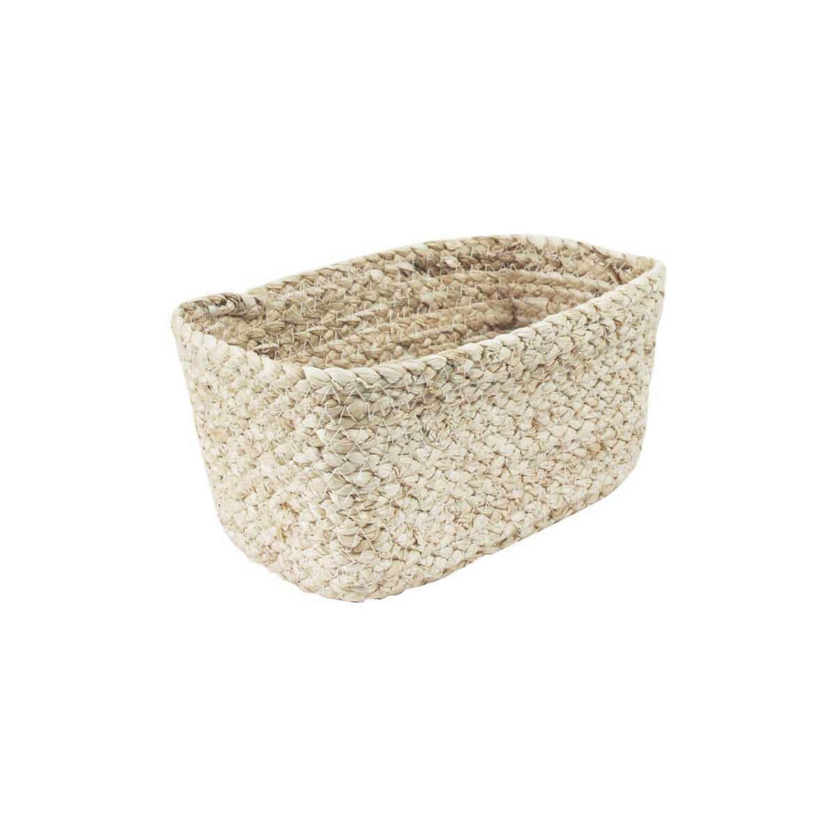 Panier de rangement en fibre naturelle rectangulaire for Panier rangement salle de bain