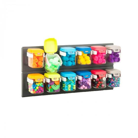 12 bocaux muraux colorés