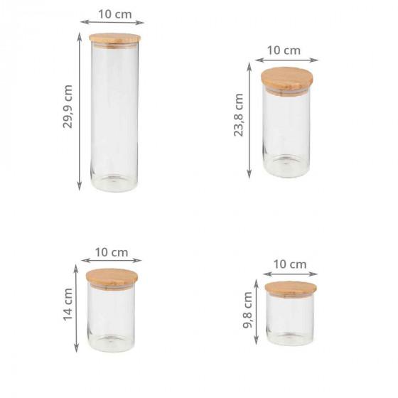 4 bocaux en verre et couvercle en bois