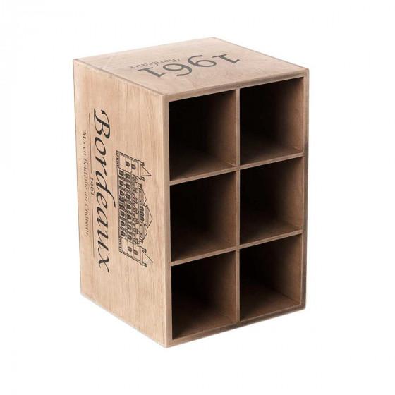 Range bouteilles en bois façon caisse de vin