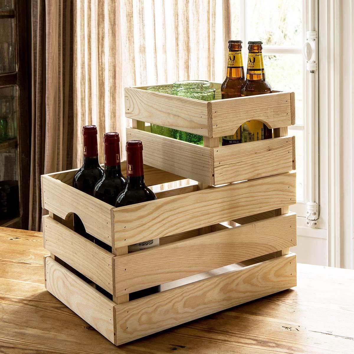 Caisse de rangement en bois clair - 23x40x30