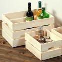 Caisse de rangement en bois clair L