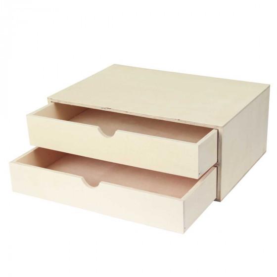 Bloc 2 tiroirs en bois