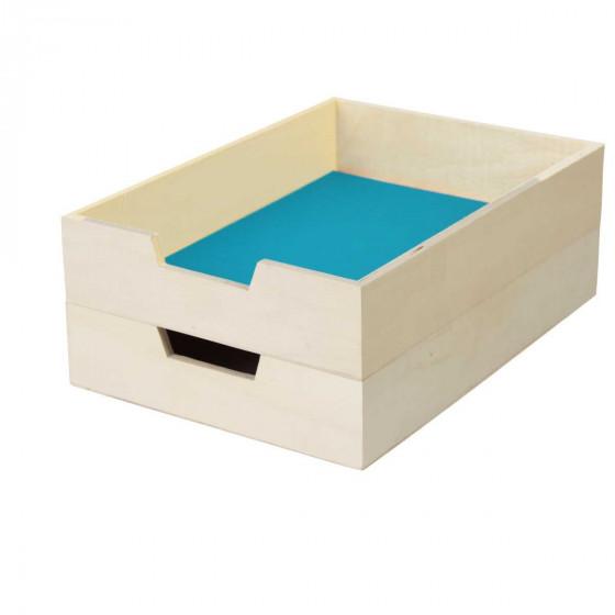 2 corbeilles à courrier en bois