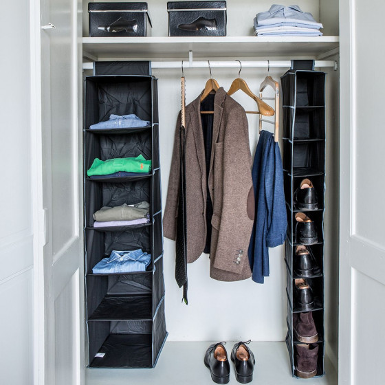 Rangement pour 9 paires de chaussures à suspendre en tissu noir