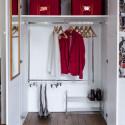 Boîte de rangement en tissu rouge avec armature M