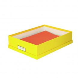 Boîte de rangement A4 en carton jaune