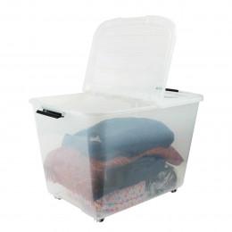 Boîte de stockage 60 litres en plastique avec couvercle pliable et 4 roues.
