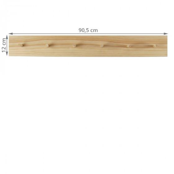 Patère shaker en bois clair avec liseré bleu et 6 accroches