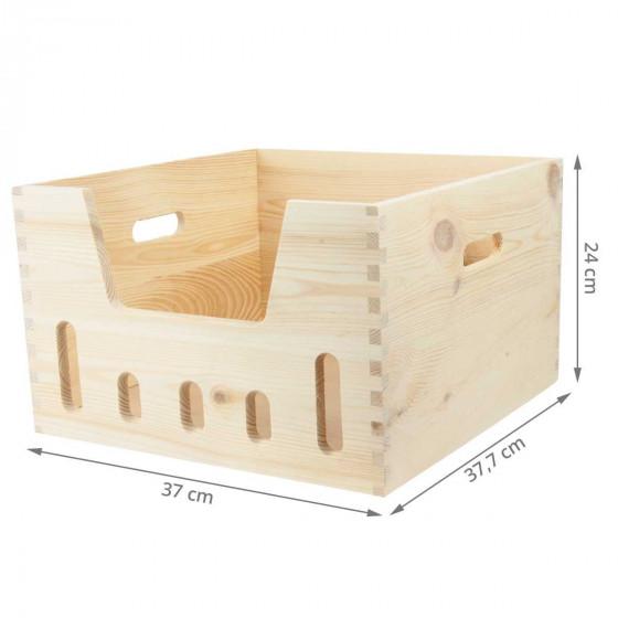 Caisse de rangement empilable en bois