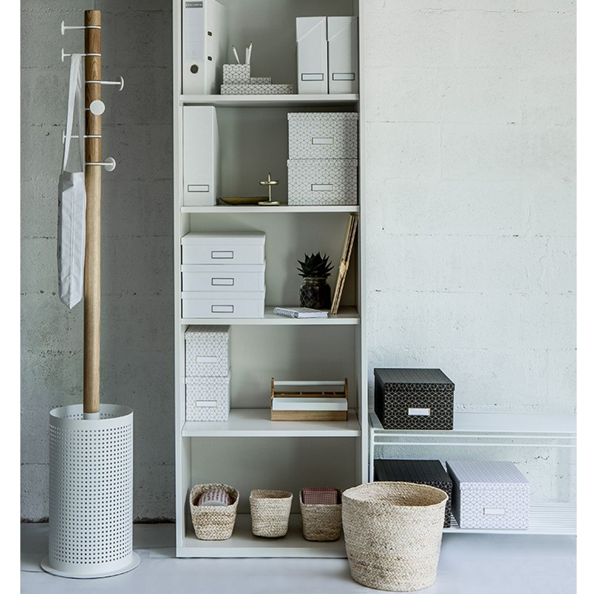 porte manteau porte parapluie bois et m tal blanc. Black Bedroom Furniture Sets. Home Design Ideas