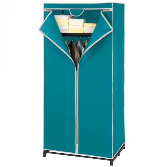 Armoire penderie avec étagère en tissu bleu