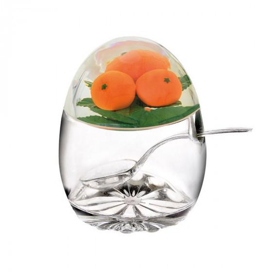 Pot à confiture avec cuillère et orange