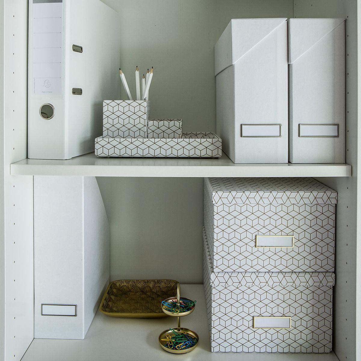 bo te classement carton blanc rangement bureau. Black Bedroom Furniture Sets. Home Design Ideas