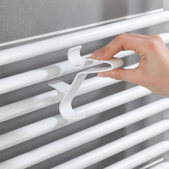Patères blanches pour radiateur mural - lot de 3