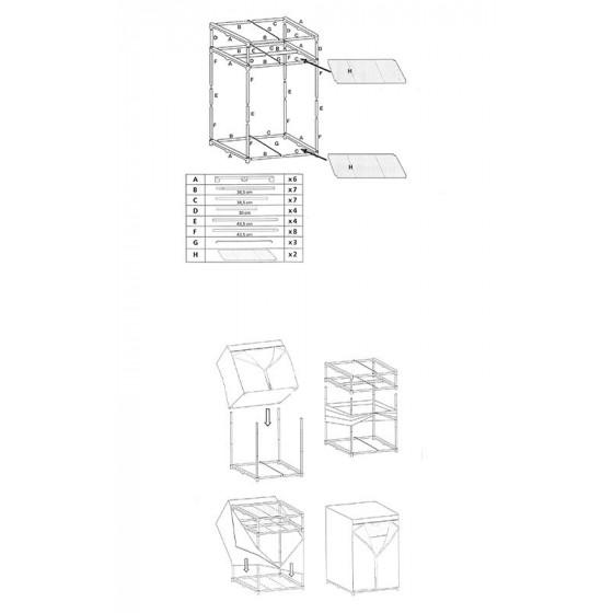 Armoire penderie en tissu avec étagère