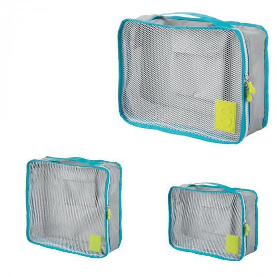 3 sacs organisateurs de voyage gris et turquoise