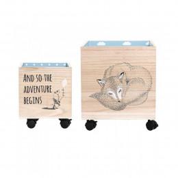 Bacs à jouets à roulettes en bois