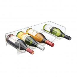 Range-bouteilles empilable en plastique transparent pour 5 bouteilles