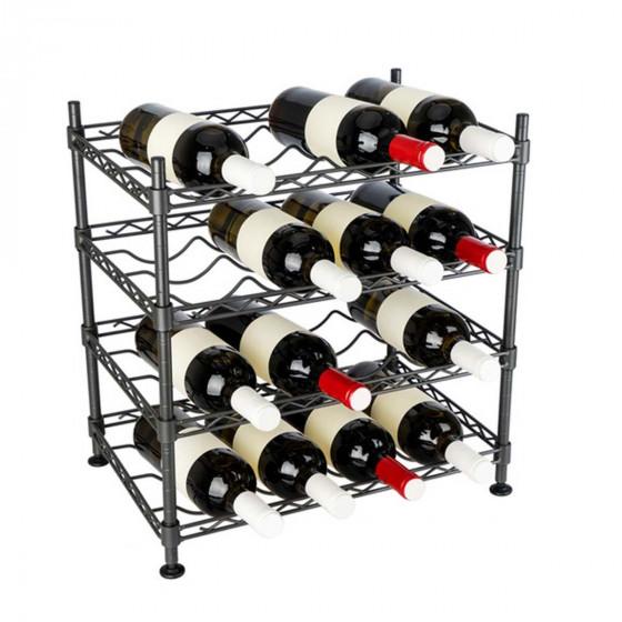 Range 16 bouteilles en métal gris foncé
