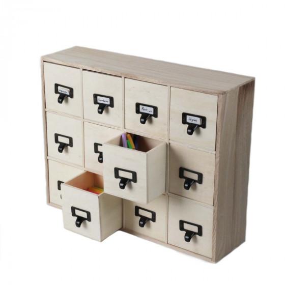 casier en bois 12 tiroirs de 10x10x10casier de rangement. Black Bedroom Furniture Sets. Home Design Ideas