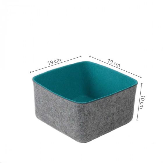 Panier carré en feutre bleu turquoise