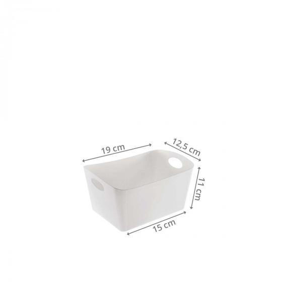 Petit bac de rangement en plastique blanc S