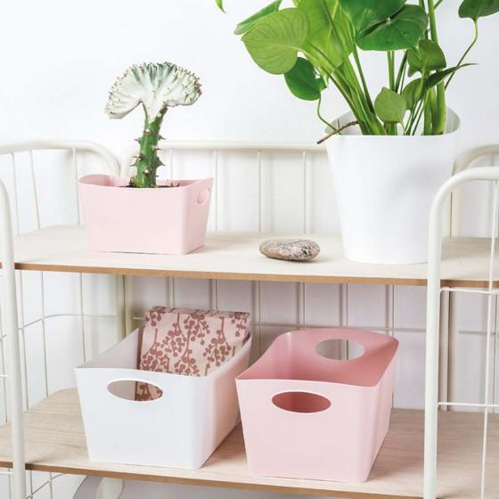 Bac de rangement rose en matière recyclable M