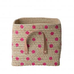 Cube de rangement en raphia à pois roses