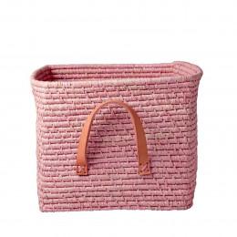 Cube de rangement en raphia rose