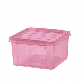 Boîte de rangement transparente rose pâle 8 litres