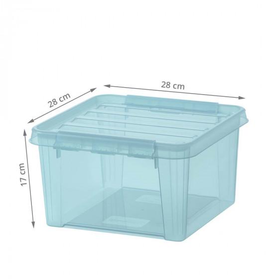 Boîte carrée en plastique bleu