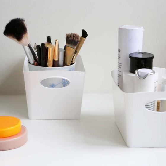 Bac de rangement en plastique blanc M