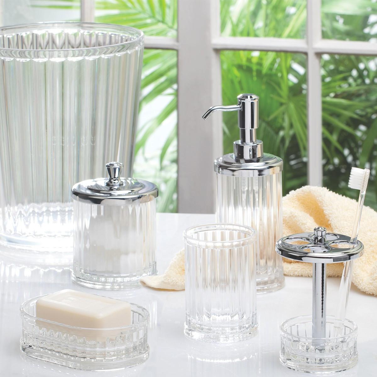Verre dents transparent rangement salle de bain for Distributeur savon salle de bain