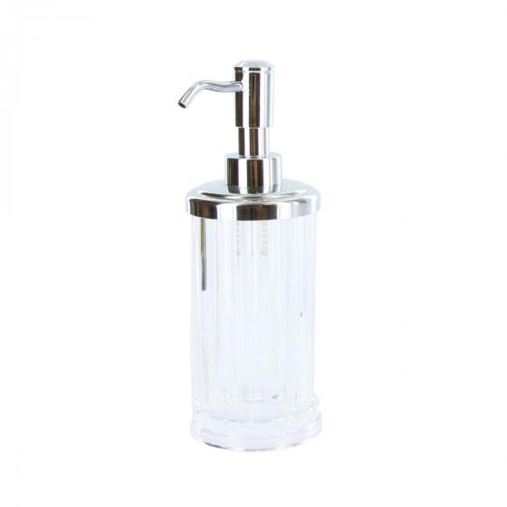 Distributeur de savon en plastique transparent cannelé et pompe chromée