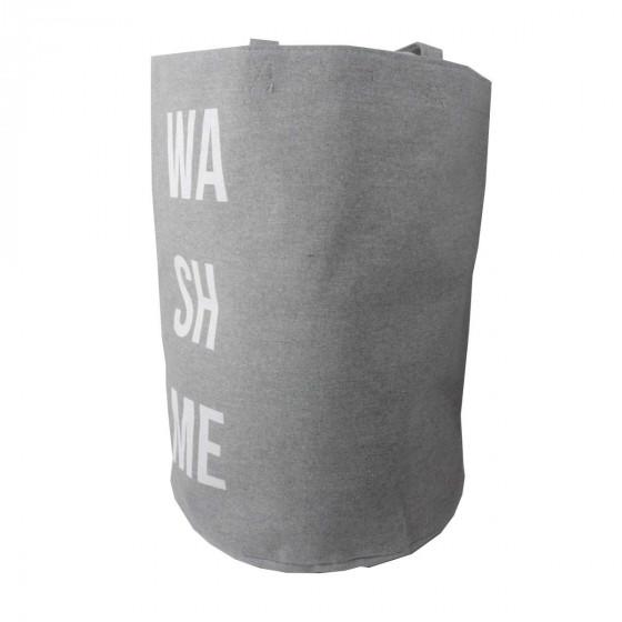 Panier à linge en tissu gris avec inscription Wash me