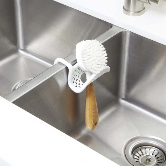 Porte éponge flexible blanc pour évier