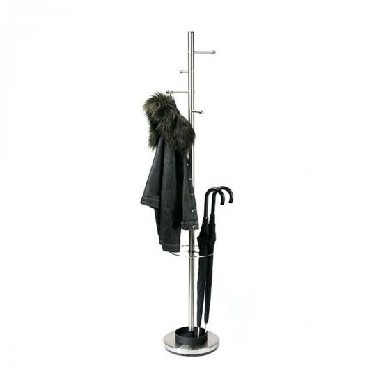 Porte-manteau / porte-parapluie en métal chromé