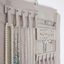 Rouleau à bijoux en velours gris
