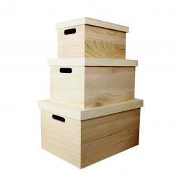 3 boîtes de rangement en bois avec couvercle