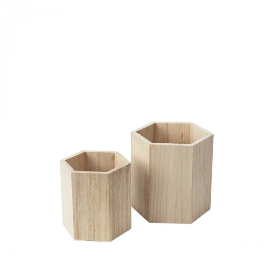 2 pots à crayons hexagonaux en bois