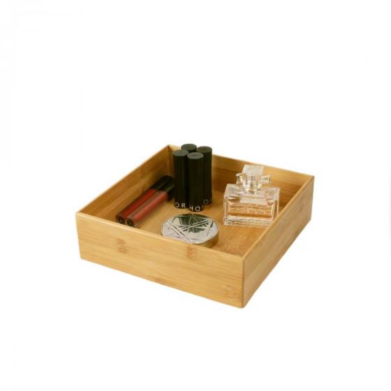 Grand organisateur carré de salle de bain en bambou