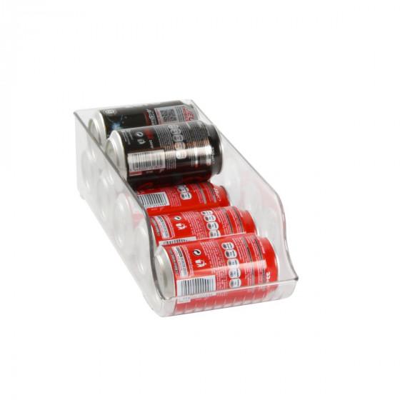 Distributeur de canettes en plastique transparent