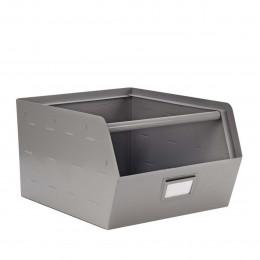 Bac de rangement empilable en métal gris avec porte étiquette